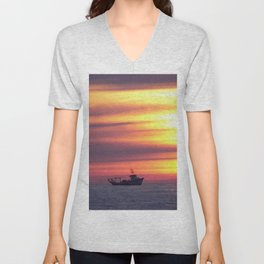 Fishing Boat At Sunrise Unisex V-Neck