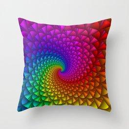 Rainbow Fractal Spikes Throw Pillow