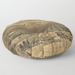 Aerial View of Sacramento, California (circa 1890) Floor Pillow