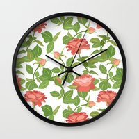roses Wall Clocks featuring Roses by Julia Badeeva