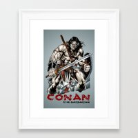 conan Framed Art Prints featuring Conan by CromMorc