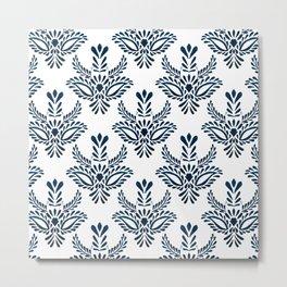 Indigo pattern watercolor Metal Print