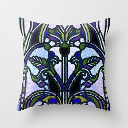 Blue and Green Glowing Art Nouveau Stain Glass Design Throw Pillow