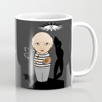 pablo picasso Mugs featuring Kokeshi artist Pablo Picasso by Pendientera
