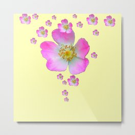 PALE YELLOW WILD PINK ROSE CASCADE ART Metal Print