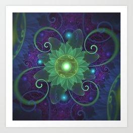 Glowing Blue-Green Fractal Lotus Lily Pad Pond Art Print