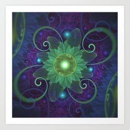 Glowing Blue-Green Fractal Lotus Lily Pad Pond Art Print