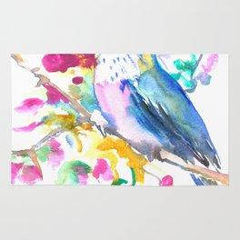 Turquoise Hummingbird and Purple Pink Flowers Rug
