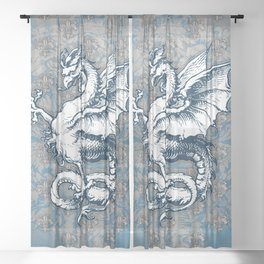 Noble House STEEL BLUE / Grungy heraldry design Sheer Curtain