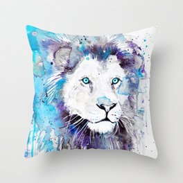 Blue Lion Throw Pillow