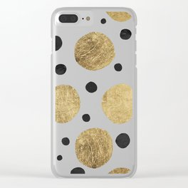 Modern abstract faux gold black watercolor polka dots pattern Clear iPhone Case