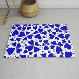 Abstract Blue and White Heart Pattern Love Art by Megan Duncanson MADART Rug