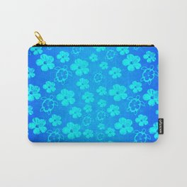 Blue Hawaiian Honu And Tropical Flowers Carry-All Pouch