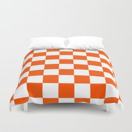 Checkered - White and Dark Orange Duvet Cover