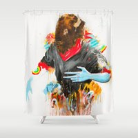 depression Shower Curtains featuring  Happy Depression by niuku