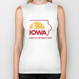 Iowa: Land of the Rising Corn - Red and Gold Edition Biker Tank