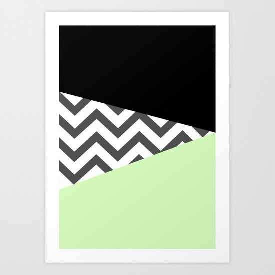 Color Blocked Chevron 3 Art Print