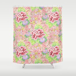 Pink Paisley Kimono Bouquet Shower Curtain