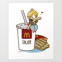 hetalia Art Prints featuring Hetalia - America Loves McDonalds  by BlacksSideshow