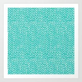 Hand Knit Aqua Art Print