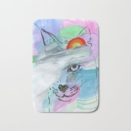 Coy Cat with Rainbow Bath Mat