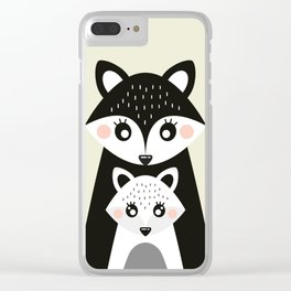 Scandinavian Mother and baby Fox Clear iPhone Case
