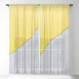 Yellow & Gray Abstract Background Sheer Curtain