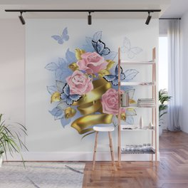 Pink Roses with Gold Ribbon Wall Mural