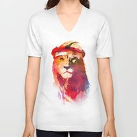 lion V-neck T-shirts featuring Gym Lion by Robert Farkas