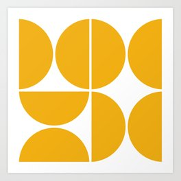 Mid Century Modern Yellow Square Art Print