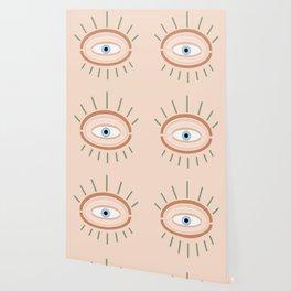 Retro evil eye - neutrals Wallpaper