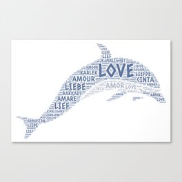 Dolphin illustrated with Love Word of different languages Canvas Print