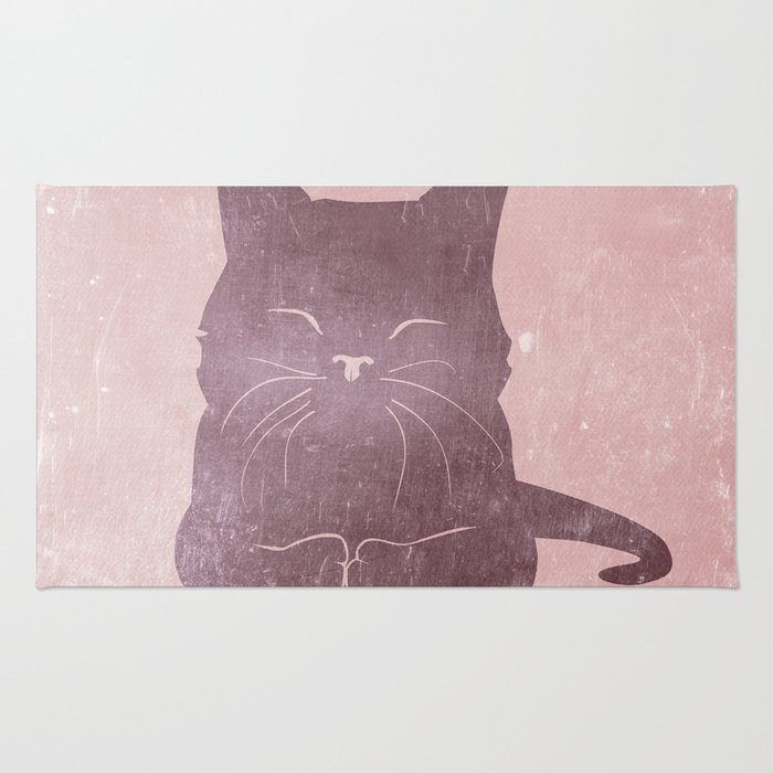 Happy purple cat illustration on pink for girls Rug