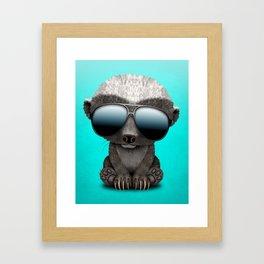 Cute Baby Honey Badger Wearing Sunglasses Framed Art Print