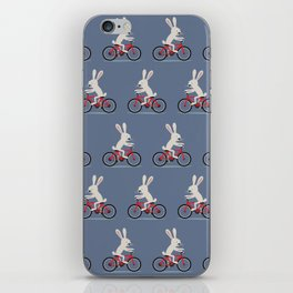 Bunny riding bike iPhone Skin