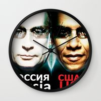 russia Wall Clocks featuring Russia  USA by Pavlo Tereshin