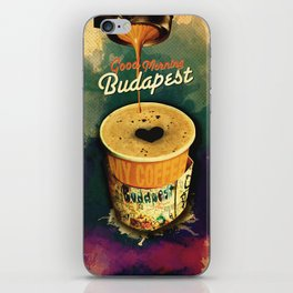Good Morning Budapest Coffee on the go iPhone Skin