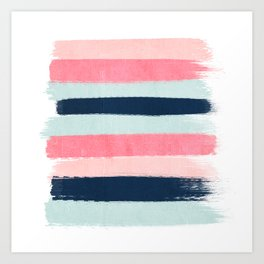 Striped painted coral mint navy pink pattern stripes minimalist Art Print