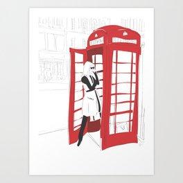 London Calling Fashion Phone Booth Girl Art Print