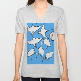 """Katsushika Hokusai """"Cranes from Quick Lessons in Simplified Drawing"""" (1823)(edited) Unisex V-Neck"""