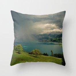 arising storm over lake lucerne Throw Pillow