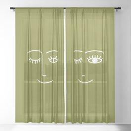 Wink (Matcha Green) Sheer Curtain