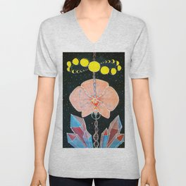 Moon Orchid Flower Space Tapestry Crystals Sacred Geometry Metatron's Cube Visionary Art Unisex V-Neck