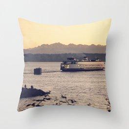 Puget Sound Ferry Throw Pillow