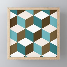 Cubes Pattern Teals Browns Cream White Framed Mini Art Print