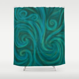 teal swirl Shower Curtain
