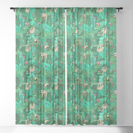 Sloths in the Emerald Jungle Pattern Sheer Curtain