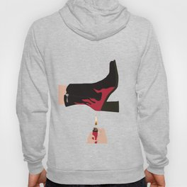 Black & Red Flame Boot on Yellow Background Hoody
