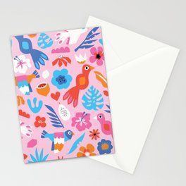 Colorful Tropical Birds Flowers Fruit Blue Pink Red White Kids Pattern Stationery Cards