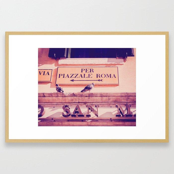 Italian Sign In Venice Fine Art Print Framed Art Print